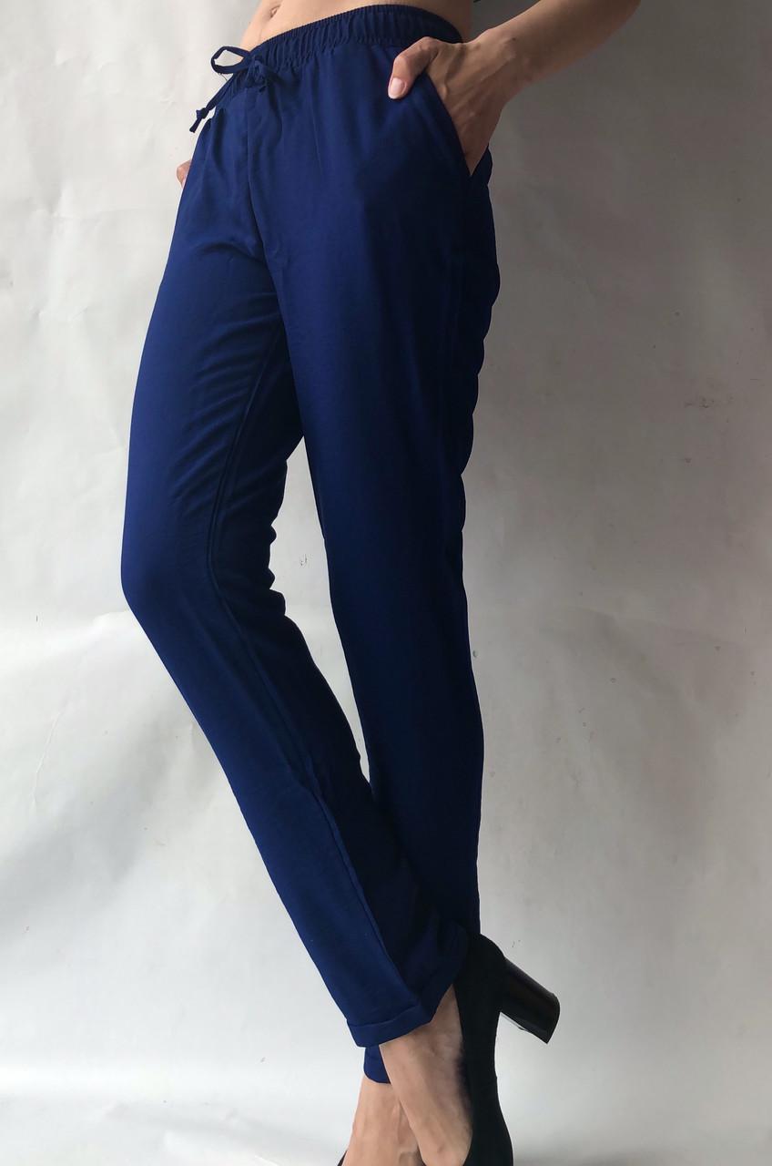 Летние брюки из льна жатки №23 БАТАЛ синий