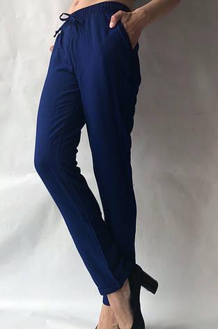 Летние брюки из льна жатки №23 БАТАЛ синий, фото 2
