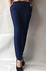 Летние брюки из льна жатки №23 БАТАЛ синий, фото 3