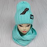 """М 94054. Комплект женский-подростковый шапка """"GOOD BILLII"""" и хомут, разные цвета, фото 6"""