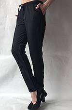 Летние брюки из льна жатки №23 БАТАЛ черный, фото 3