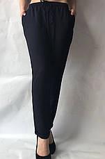 Летние брюки из льна жатки №23 БАТАЛ черный, фото 2