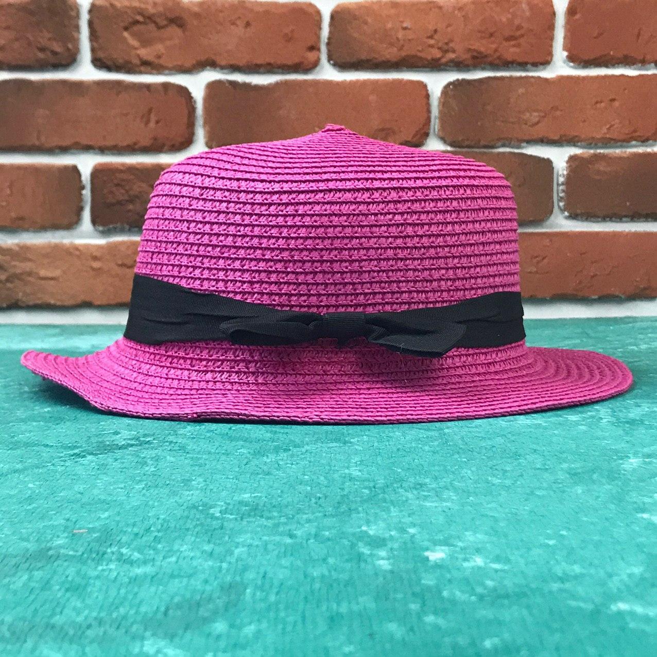 Женская летняя Бретонская шляпа Канотье City-a Классика Розовая с черной лентой