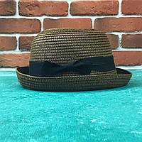 Женская летняя Бретонская шляпа Канотье City-a Котелок Коричневый с черной лентой