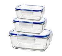 Набор лотков для еды стеклянный прямоугольный Superblock Borgonovo 3 шт.
