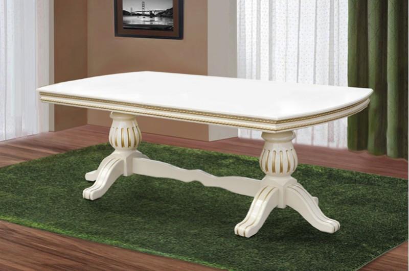 Большой раздвижной, обеденный стол -Граф из массива дерева (слоновая кость / патина)