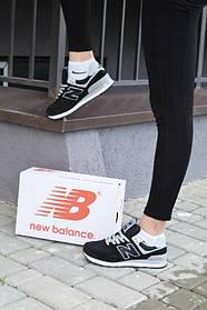 Кроссовки Женские New Balance 574 black -Нью Беленс,Замша натуральная, Черные Жіночі кросівки Размер 36-41