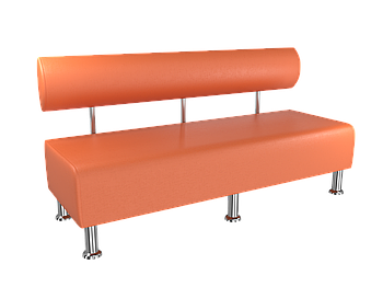 Диван BNB Solo 1500x540x750 оранжевый.  Для школы, больницы, приемной, ожидания