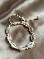 Нежный плетеный женский браслет из ракушек каури, браслет ракушки на руку или на ногу