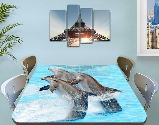Виниловая наклейка на стол Дельфины декоративная пленка с ламинацией аквариум, голубой 60 х 100 см, фото 2