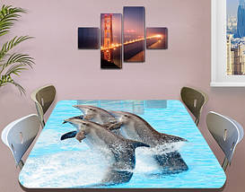 Виниловая наклейка на стол Дельфины декоративная пленка с ламинацией аквариум, голубой 60 х 100 см, фото 3