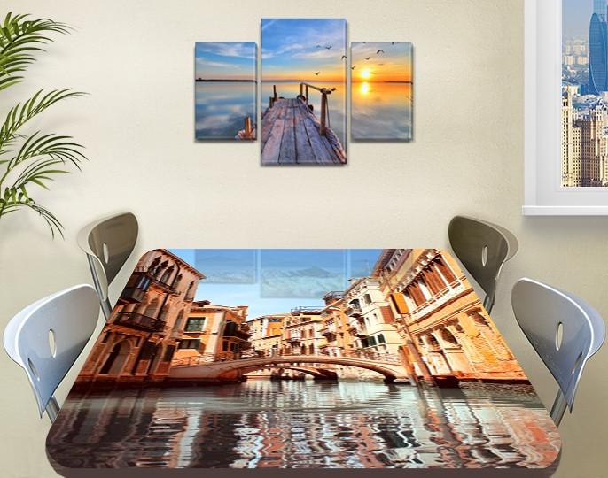 Виниловая наклейка на стол Венеция мосты и дома самоклеющаяся двойная пленка декор, бежевый 60 х 100 см