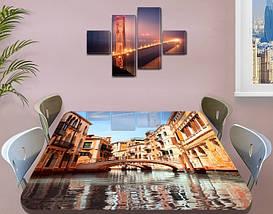 Виниловая наклейка на стол Венеция мосты и дома самоклеющаяся двойная пленка декор, бежевый 60 х 100 см, фото 3