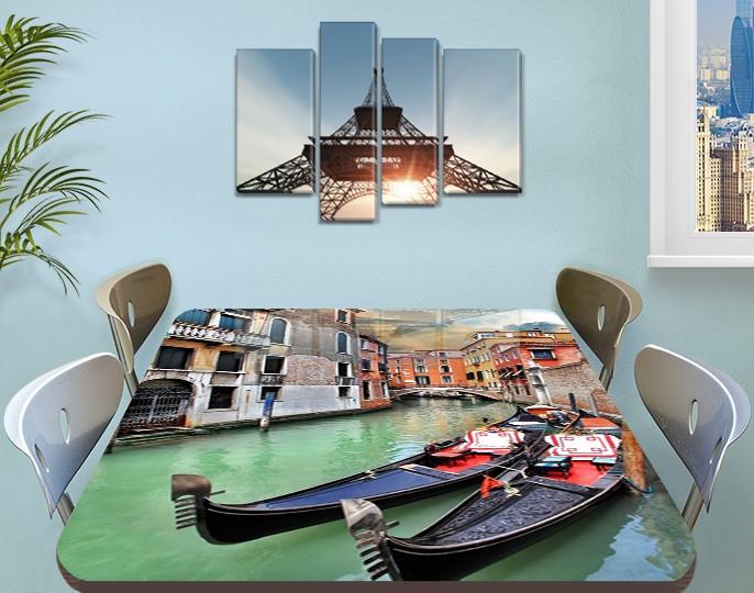 Виниловая наклейка на стол Венецианские Гондолы самоклеющаяся двойная пленка декор, серый 60 х 100 см