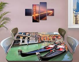 Виниловая наклейка на стол Венецианские Гондолы самоклеющаяся двойная пленка декор, серый 60 х 100 см, фото 3