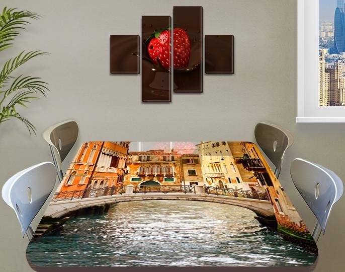 Виниловая наклейка на стол Романтическая Венеция самоклеющаяся двойная пленка декор, бежевый 60 х 100 см