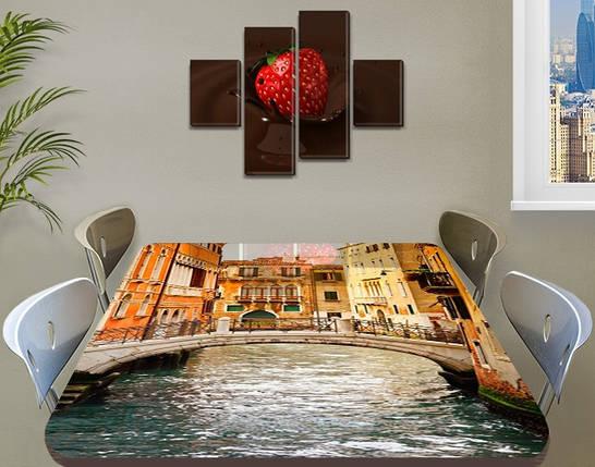 Виниловая наклейка на стол Романтическая Венеция самоклеющаяся двойная пленка декор, бежевый 60 х 100 см, фото 2