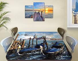 Виниловая наклейка на стол Ретро Венеция гондолы небо самоклеющаяся двойная пленка декор, синий 60 х 100 см, фото 2