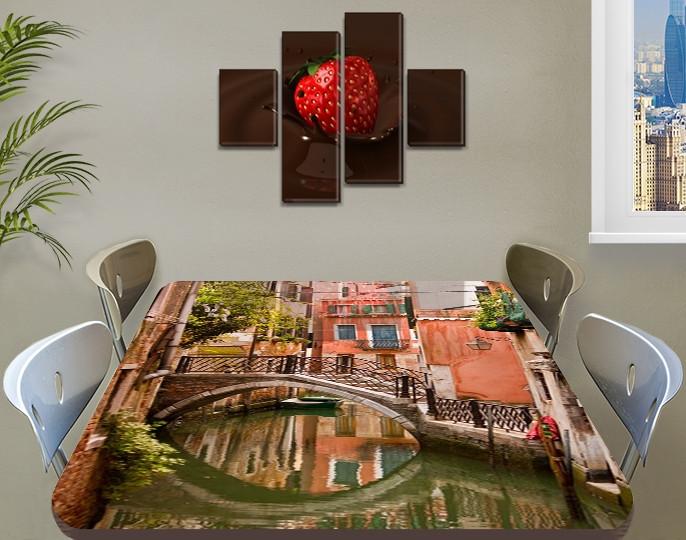 Виниловая наклейка на стол Особняк в Венеции самоклеющаяся двойная пленка декор, коричневый 60 х 100 см