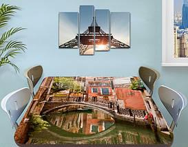 Виниловая наклейка на стол Особняк в Венеции самоклеющаяся двойная пленка декор, коричневый 60 х 100 см, фото 3