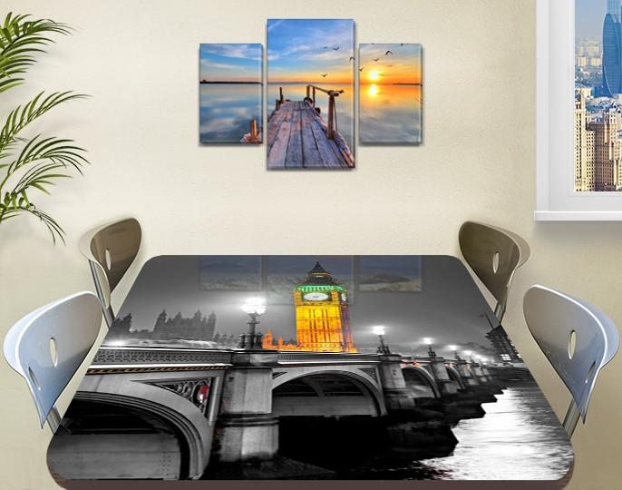 Виниловая наклейка на стол Биг-Бен и серый Лондон самоклеющаяся двойная пленка декор, серый 60 х 100 см
