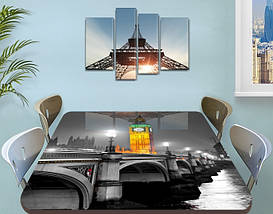 Виниловая наклейка на стол Биг-Бен и серый Лондон самоклеющаяся двойная пленка декор, серый 60 х 100 см, фото 3