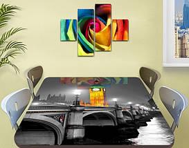 Виниловая наклейка на стол Биг-Бен и серый Лондон самоклеющаяся двойная пленка декор, серый 60 х 100 см, фото 2