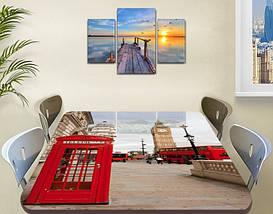 Виниловая наклейка на стол Телефонная будка Лондон самоклеющаяся декоративная пленка, красный 60 х 100 см, фото 3