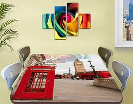 Виниловая наклейка на стол Телефонная будка Лондон самоклеющаяся декоративная пленка, красный 60 х 100 см, фото 2