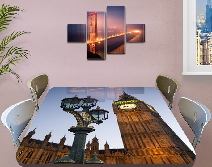 Виниловая наклейка на стол Лондонский фонарь и Биг Бен самоклеющаяся декоративная пленка, бежевый 60 х 100 см