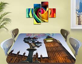 Виниловая наклейка на стол Лондонский фонарь и Биг Бен самоклеющаяся декоративная пленка, бежевый 60 х 100 см, фото 2