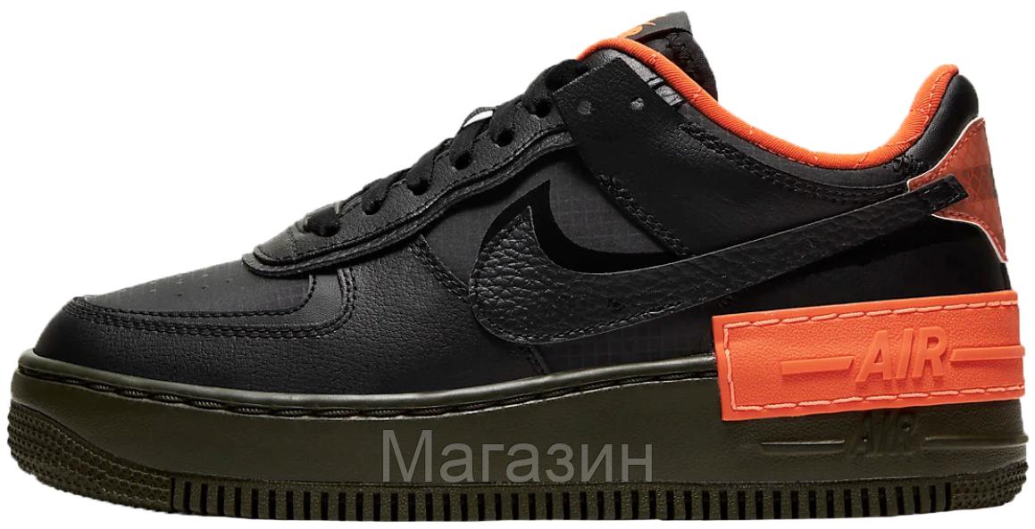 Женские кроссовки Nike Air Force Shadow Black/Hyper Crimson Hайк Аир Форс Шадоу низкие черные CQ3317-001