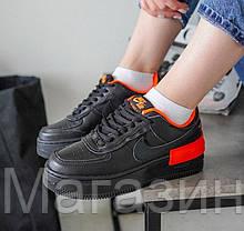 Женские кроссовки Nike Air Force Shadow Black/Hyper Crimson Hайк Аир Форс Шадоу низкие черные CQ3317-001, фото 2