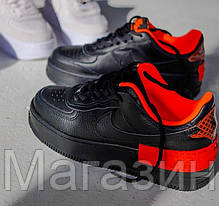 Женские кроссовки Nike Air Force Shadow Black/Hyper Crimson Hайк Аир Форс Шадоу низкие черные CQ3317-001, фото 3