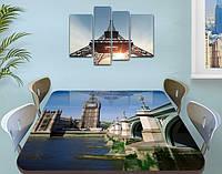 Виниловая наклейка на стол Биг Бен и Лондон самоклеющаяся декоративная пленка, серый 60 х 100 см