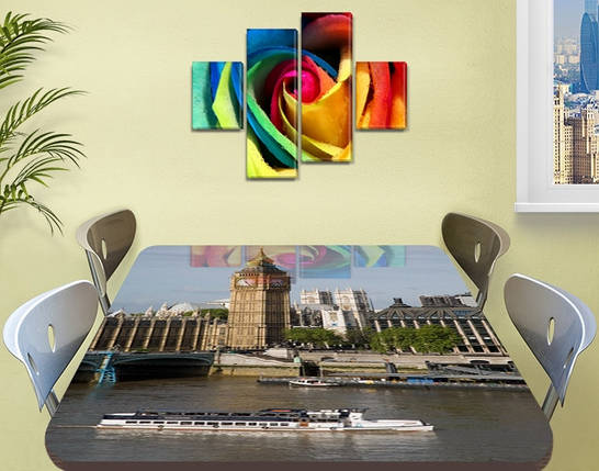 Виниловая наклейка на стол Лондон Биг Бен и Темза самоклеющаяся декоративная пленка, бежевый 60 х 100 см, фото 2