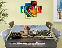 Виниловая наклейка на стол Лондон Биг Бен и Темза самоклеющаяся декоративная пленка, бежевый 60 х 100 см