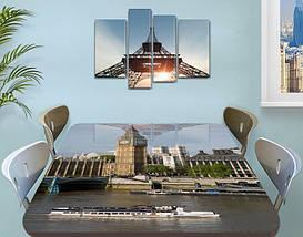 Виниловая наклейка на стол Лондон Биг Бен и Темза самоклеющаяся декоративная пленка, бежевый 60 х 100 см, фото 3