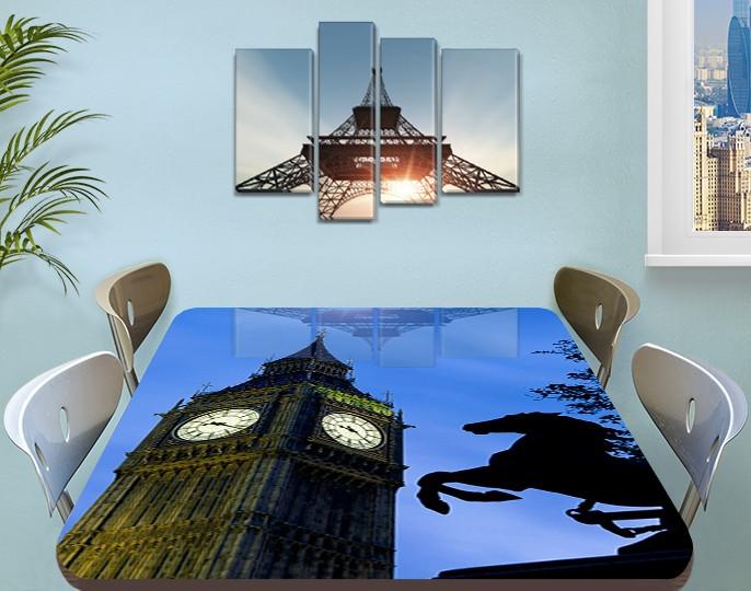 Виниловая наклейка на стол Часы Биг Бена Лондон самоклеющаяся декоративная пленка, синий 60 х 100 см