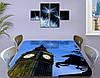 Виниловая наклейка на стол Часы Биг Бена Лондон самоклеющаяся декоративная пленка, синий 60 х 100 см, фото 3