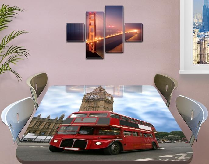 Виниловая наклейка на стол Автобус Биг Бен Лондон самоклеющаяся декоративная пленка, красный 60 х 100 см
