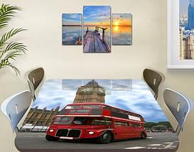Виниловая наклейка на стол Автобус Биг Бен Лондон самоклеющаяся декоративная пленка, красный 60 х 100 см, фото 3