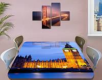 Виниловая наклейка на стол Вечерний Лондон Биг Бен самоклеющаяся декоративная пленка, синий 60 х 100 см