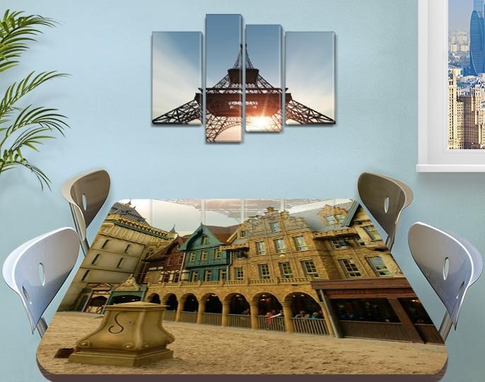 Виниловая наклейка на стол Городские арки декоративная пленка самоклеющаяся, бежевый 60 х 100 см