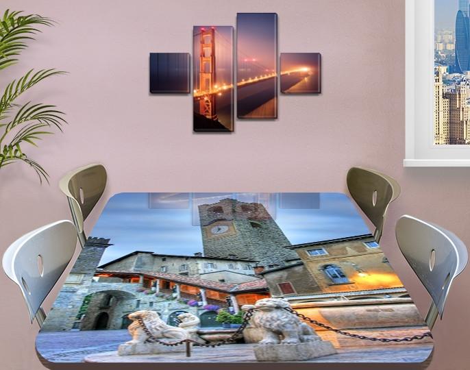 Виниловая наклейка на стол Каменная башня с часами декоративная пленка самоклеющаяся, серый 60 х 100 см