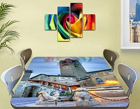 Виниловая наклейка на стол Каменная башня с часами декоративная пленка самоклеющаяся, серый 60 х 100 см, фото 2
