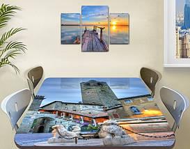 Виниловая наклейка на стол Каменная башня с часами декоративная пленка самоклеющаяся, серый 60 х 100 см, фото 3