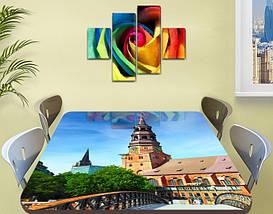 Виниловая наклейка на стол Колокольня Архитектура декоративная пленка самоклеющаяся, голубой 60 х 100 см, фото 2