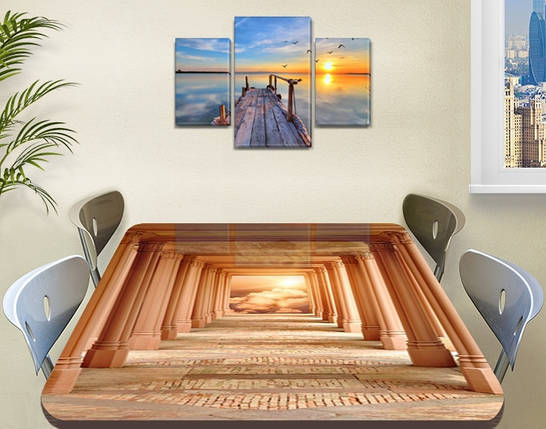 Виниловая наклейка на стол Античность Арки декоративная пленка самоклеющаяся, бежевый 60 х 100 см, фото 2