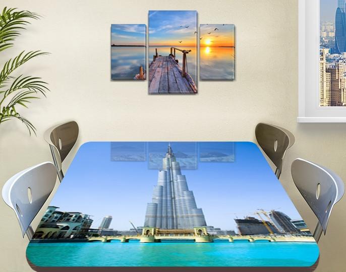 Виниловая наклейка на стол Небоскреб Бурдж Халифе декоративная пленка самоклеющаяся, голубой 60 х 100 см